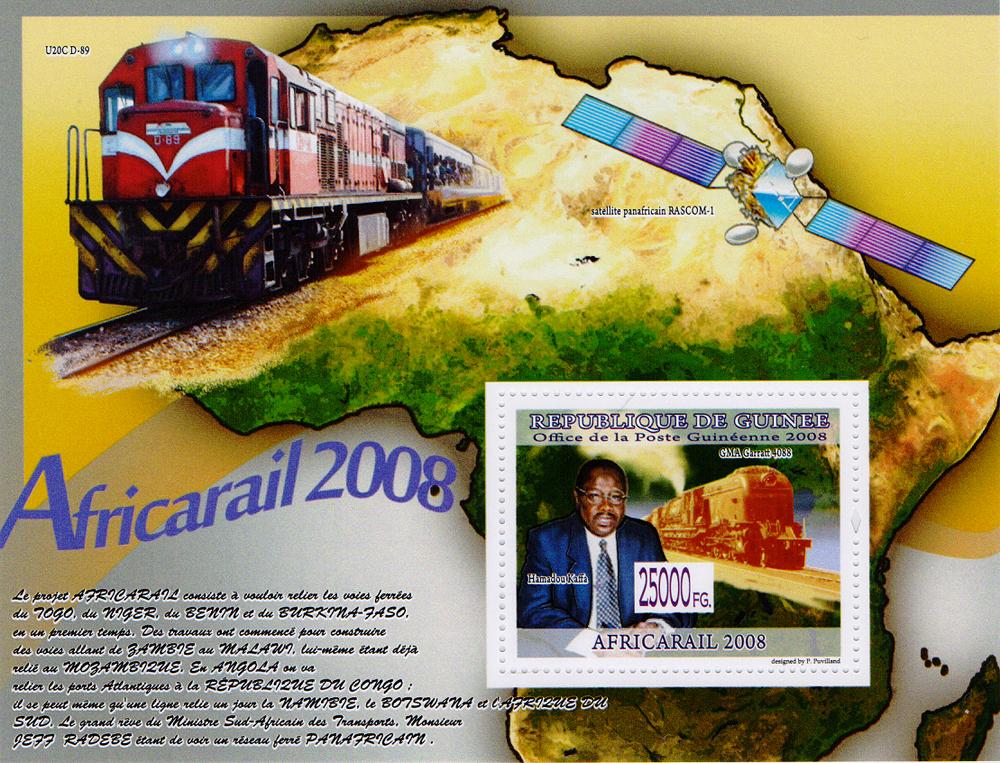 Почтовый блок Железные дороги в Африке - 2008. Республика Гвинея, 2008 год691503Почтовый блок Железные дороги в Африке - 2008. Республика Гвинея, 2008 год. Размер блока: 10.8 х 14.2 см. Размер марки: 4 х 5 см. Сохранность хорошая.