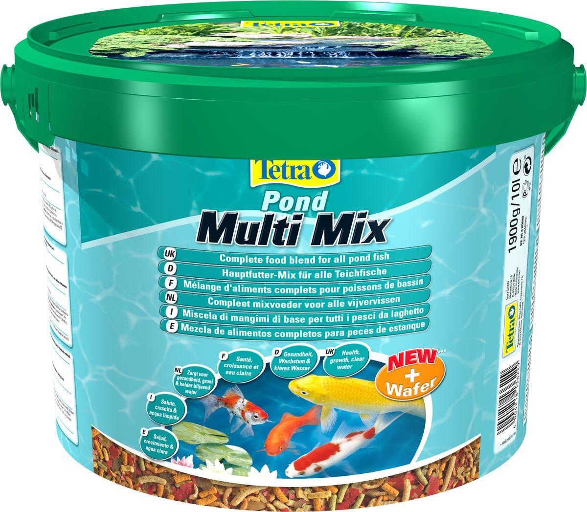 Корм сухой TetraPond Multi Mix для всех видов прудовых рыб, комбинированный, 10 л136229Корм TetraPond Multi Mix - это основная формула из четырех составляющих: гранулы, хлопья, таблетки, гаммарус, что отвечает пищевым потребностям разных рыб. Запатентованная BioActive формула обеспечивает высокую устойчивость к заболеваниям, придает энергию и жизнеспособность. Особенности TetraPond Multi Mix: - высококачественные хлопья специально созданы с учетом пищевых потребностей молодых и маленьких рыбок, - плавающие палочки для всех рыб, которые питаются с поверхности воды, - натуральный корм в качестве особого деликатеса. Идеален также для тритонов и амфибий, - тонущие пластинки специально для рыбок, которые питаются на дне, - содержит все необходимые питательные вещества, клетчатку, минералы, витамины и микроэлементы для предотвращения симптомов недостаточности, связанных с питанием, - легкий прием и высокая перевариваемость уменьшает степень загрязнения воды и улучшает ее качество. Рекомендации по кормлению: кормите...