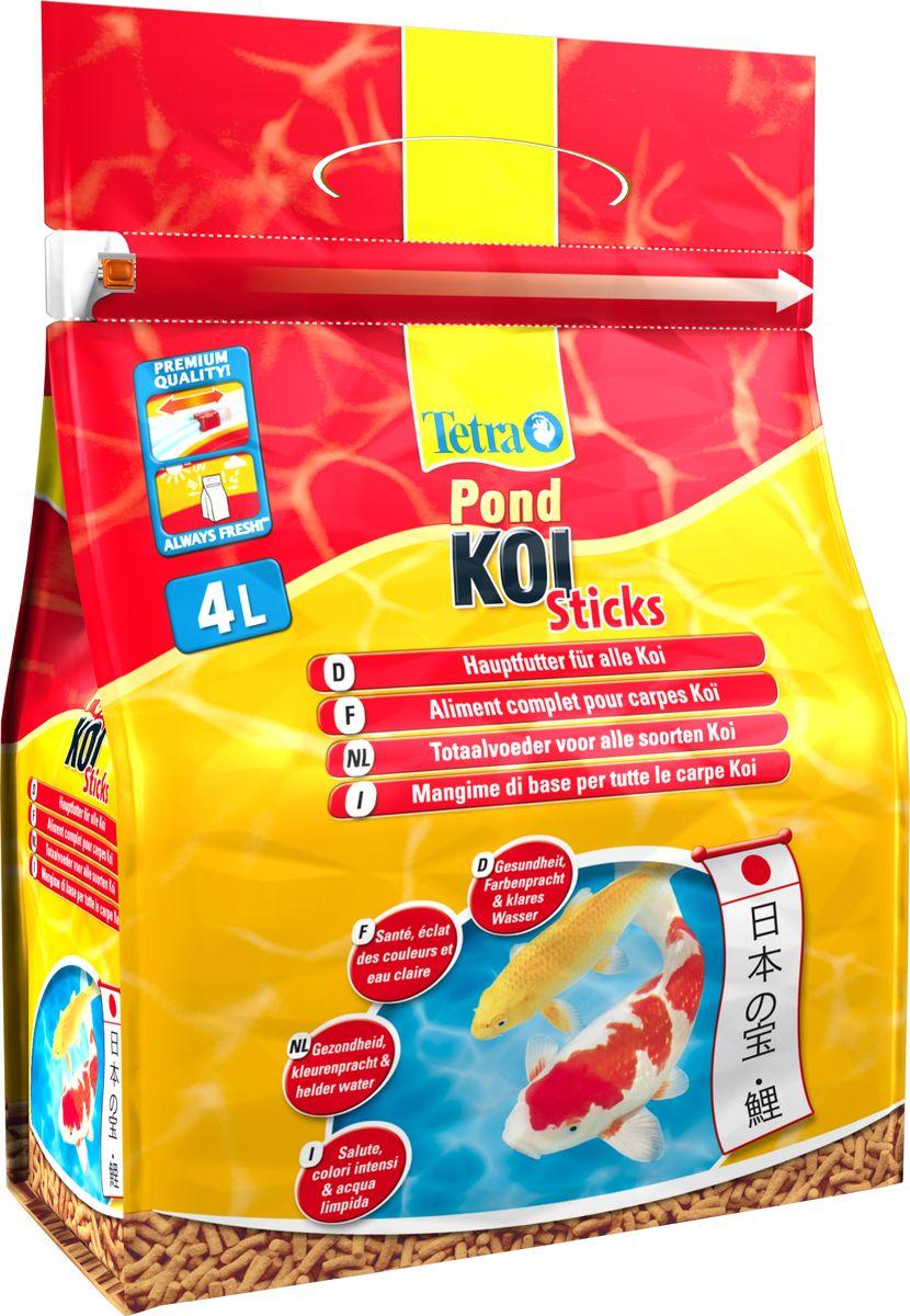 Корм сухой для кои Tetra Koi Sticks, палочки, 4 л170186Tetra Pond Koi Sticks - это сухой высококачественный корм в виде палочек, предназначенный для всех карпов кои. Содержит все необходимые нутриенты, витамины и микроэлементы для сбалансированной и здоровой диеты карпов кои; Натуральные колоранты (высококачественные каротеноиды) усиливает красный, желтый и оранжевый пигмент в окрасе рыб; Быстрое размягчение и высокая усвояемость корма рыбами снижает уровень загрязнения воды в пруде; Плотно закрывающийся пакет защищает корм от вредного воздействия солнечных лучей, воздуха и влаги, сохраняя свежесть и питательную ценность продукта. Товар сертифицирован.