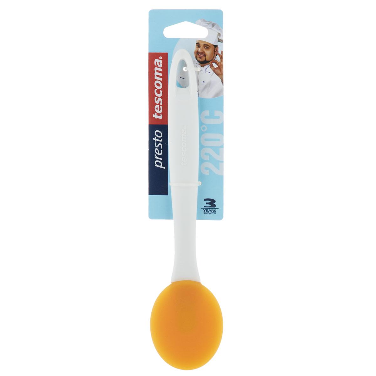 Ложка кулинарная Tescoma Presto, силиконовая, цвет: оранжевый420508Ложка Tescoma Presto изготовлена из силикона, обладающего большой термостойкостью. Ручка выполнена из прочной пластмассы. Такую ложку очень удобно держать в руке. Изделие пригодно для всех видов посуды, а также замечательно подходит для посуды с антипригарным покрытием. Ложка Tescoma Presto станет вашим незаменимым помощником на кухне, а также это практичный и необходимый подарок любой хозяйке! Можно мыть в посудомоечной машине. Размер рабочей поверхности: 6,5 см х 5,5 см. Общая длина ложки: 23,5 см.