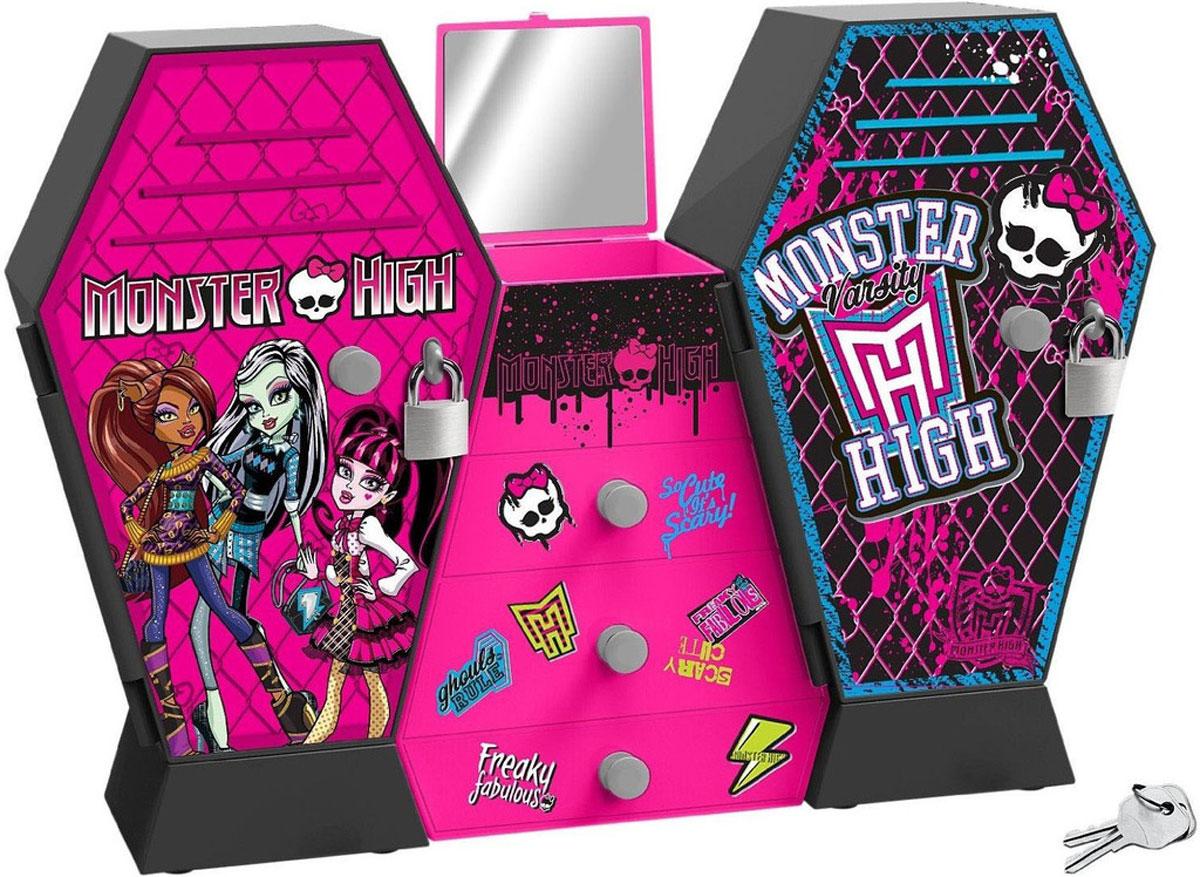Шкаф 870352 с ключом, в коробке MONSTER HIGH870352Поскольку у кукол Monster High куча всякой одежды и аксессуаров, то им просто необходим большой шкаф, куда это все можно аккуратно сложить. В таком шкафчике поместится все. Здесь есть множество выдвижных ящичков для аксессуаров, зеркало и два шкафчика с полками, один из которых закрывается на замок – там будет надежно спрятано все самое тайное.Но это не просто милый шкафчик в стиле «Школы Монстров», это музыкальный шкаф, из которого при открытии или попытке взлома льются различные звуки и мелодии. Шкаф настолько функциональный, что может уместить не только одежду кукол, но и украшения самой обладательницы этого хранилища! Любая поклонница «Шклы Монстров» будет в восторге от такого подарка, тем более, что у каждой девочки должна быть классная шкатулка!