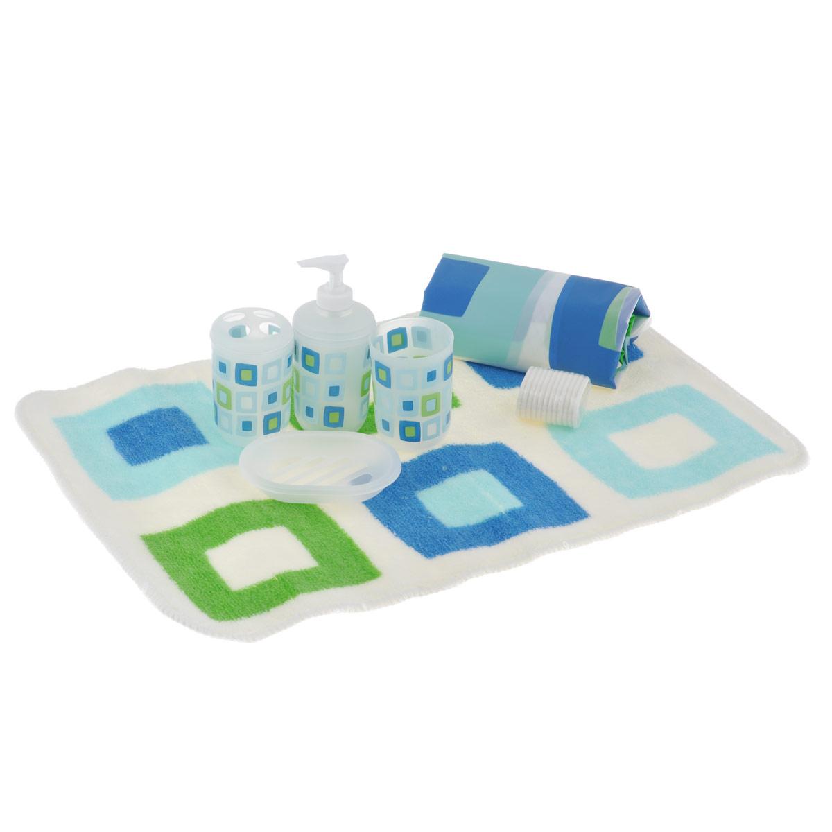 Набор для ванной комнаты House & Holder, цвет: белый, голубой, 7 предметовSWYS045Набор для ванной комнаты House & Holder состоит из держателя для зубных щеток, стакана для пасты, дозатора для жидкого мыла, мыльницы, коврика и шторы для ванной с 12 кольцами. Держатель, стакан, дозатор, мыльница и кольца изготовлены из пластика и декорированы разноцветными квадратами. Коврик изготовлен из мягкого плотного ворса, который не даст замерзнуть ногам. Основание коврика предотвращает скольжение его по полу. Шторка выполнена из водоотталкивающего материала. Набор House & Holder станет отличным подарком на праздник. Диаметр стакана (по верхнему краю): 7 см. Высота стакана: 9,5 см. Размер держателя для зубных щеток: 7 см х 7 см х 11 см. Размер дозатора: 7 см х 7 см х 16 см. Размер мыльницы: 13 см х 9,5 см х 2,5 см. Размер шторы: 180 см х 180 см. Размер коврика: 60 см х 40 см.