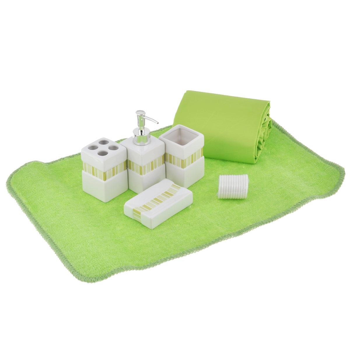 Набор для ванной комнаты House & Holder, цвет: зеленый, 7 предметовSWYS027Набор для ванной комнаты House & Holder состоит из держателя для зубных щеток, стакана для пасты, дозатора для жидкого мыла, мыльницы, коврика и шторы для ванной с 12 кольцами. Держатель, стакан, дозатор и мыльница изготовлены из высококачественной керамики и декорированы зелеными полосами. Коврик изготовлен из мягкого плотного ворса, который не даст замерзнуть ногам. Основание коврика предотвращает скольжение его по полу. Шторка выполнена из водоотталкивающего материала. Набор House & Holder станет отличным подарком на праздник. Размер стакана: 6 см х 6 см х 9,5 см. Размер держателя для зубных щеток: 6 см х 6 см х 9,5 см. Размер дозатора: 6 см х 6 см х 16 см. Размер мыльницы: 11,5 см х 7,2 см х 2,5 см. Размер шторы: 180 см х 180 см. Размер коврика: 60 см х 40 см.