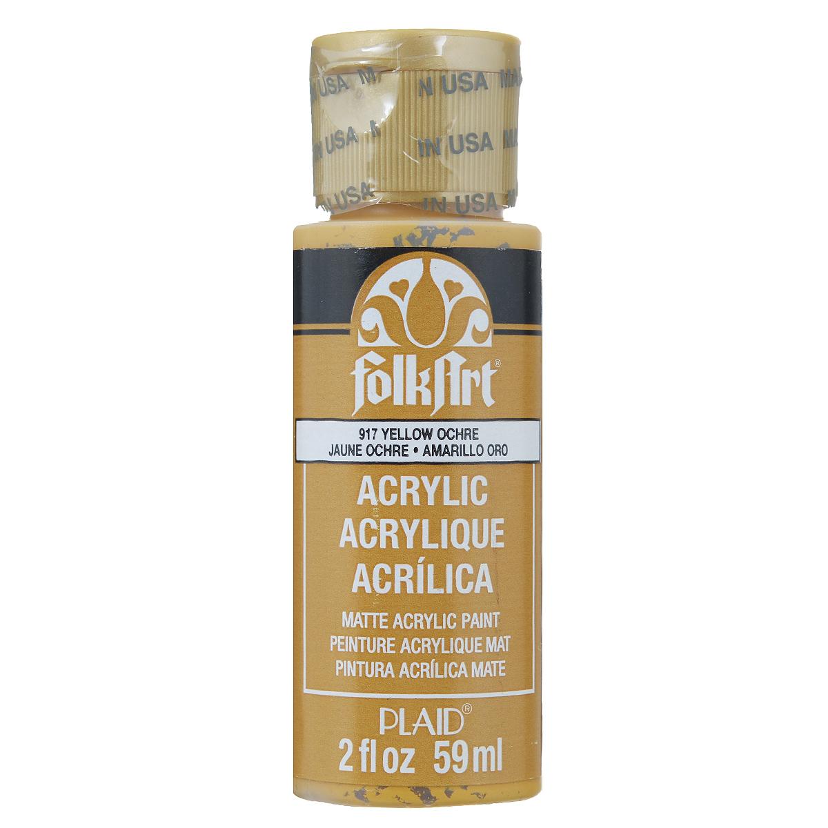 Акриловая краска FolkArt, цвет: желтая охра, 59 млPLD-00917Акриловая краска FolkArt выполнена на водной основе и предназначена для рисования на пористых поверхностях. Краска устойчива к погодным и ультрафиолетовым воздействиям. Не нуждается в дополнительном покрытии герметиком. После высыхания имеет глянцевый вид. Изделия покрытые краской FolkArt, прекрасно дополнят ваш интерьер. Объем: 59 мл.
