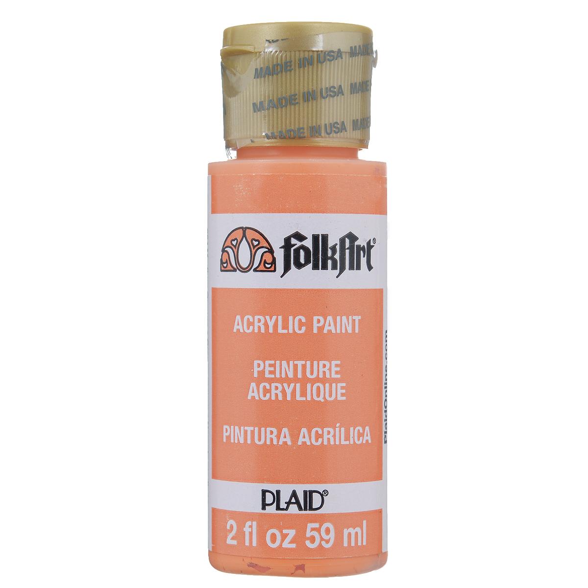 Акриловая краска FolkArt, цвет: оранжевый, 59 млPLD-00684Акриловая краска FolkArt выполнена на водной основе и предназначена для рисования на пористых поверхностях. Краска устойчива к погодным и ультрафиолетовым воздействиям. Не нуждается в дополнительном покрытии герметиком. После высыхания имеет глянцевый вид. Изделия покрытые краской FolkArt, прекрасно дополнят ваш интерьер. Объем: 59 мл.