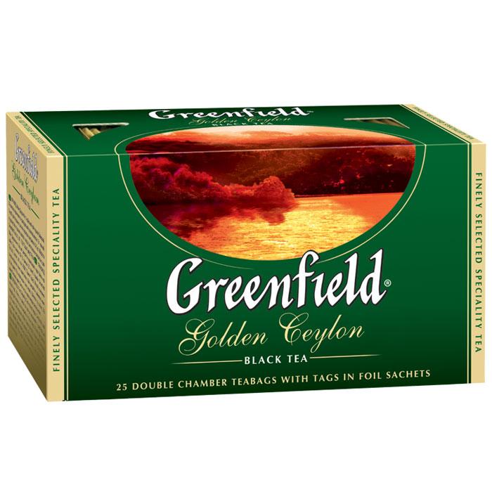 Greenfield Golden Ceylon черный чай в пакетиках, 25 шт0352-15Яркий аромат и благородный вкус цейлонского чая покорили мир. Неповторимое очарование ценного плантационного чая Greenfield Golden Ceylon заключено в его гармоничном букете, сочетающем тонкие оттенки с силой и полнотой вкуса, который доставит истинное удовольствие ценителям.