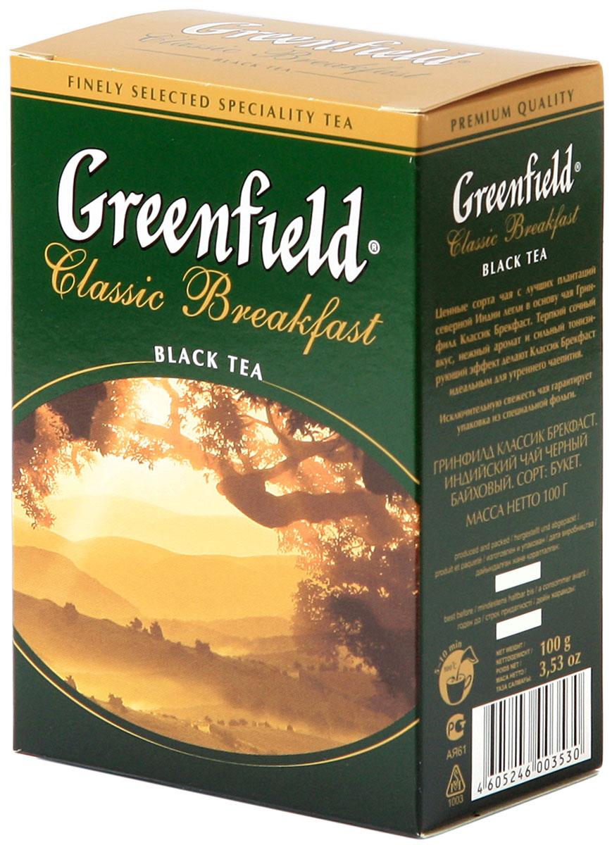 Greenfield Classic Breakfast черный листовой чай, 100 г0353-16Ценные сорта чая с лучших плантаций северной Индии легли в основу Greenfield Classic Breakfast. Терпкий сочный вкус, нежный аромат и сильный тонизирующий эффект делают Greenfield Classic Breakfast идеальным для утреннего чаепития.