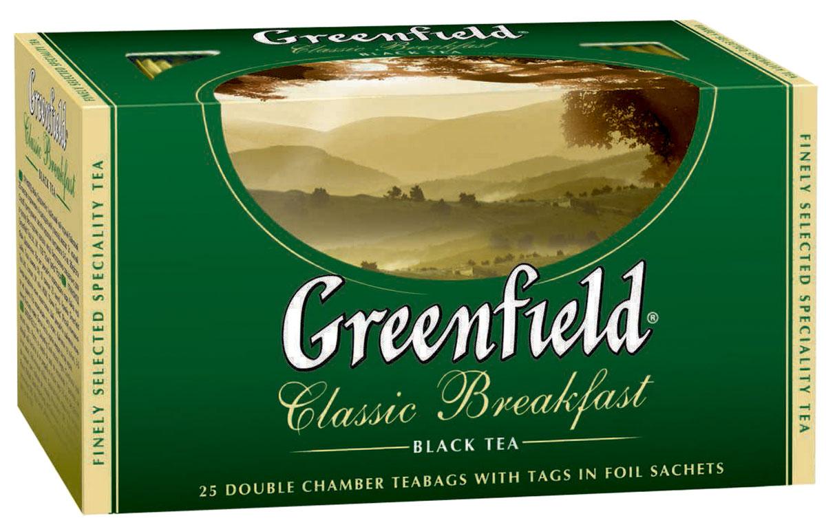 Greenfield Classic Breakfast черный чай в пакетиках, 25 шт0354-15Ценные сорта чая с лучших плантаций северной Индии легли в основу Greenfield Classic Breakfast. Терпкий сочный вкус, нежный аромат и сильный тонизирующий эффект делают Greenfield Classic Breakfast идеальным для утреннего чаепития.