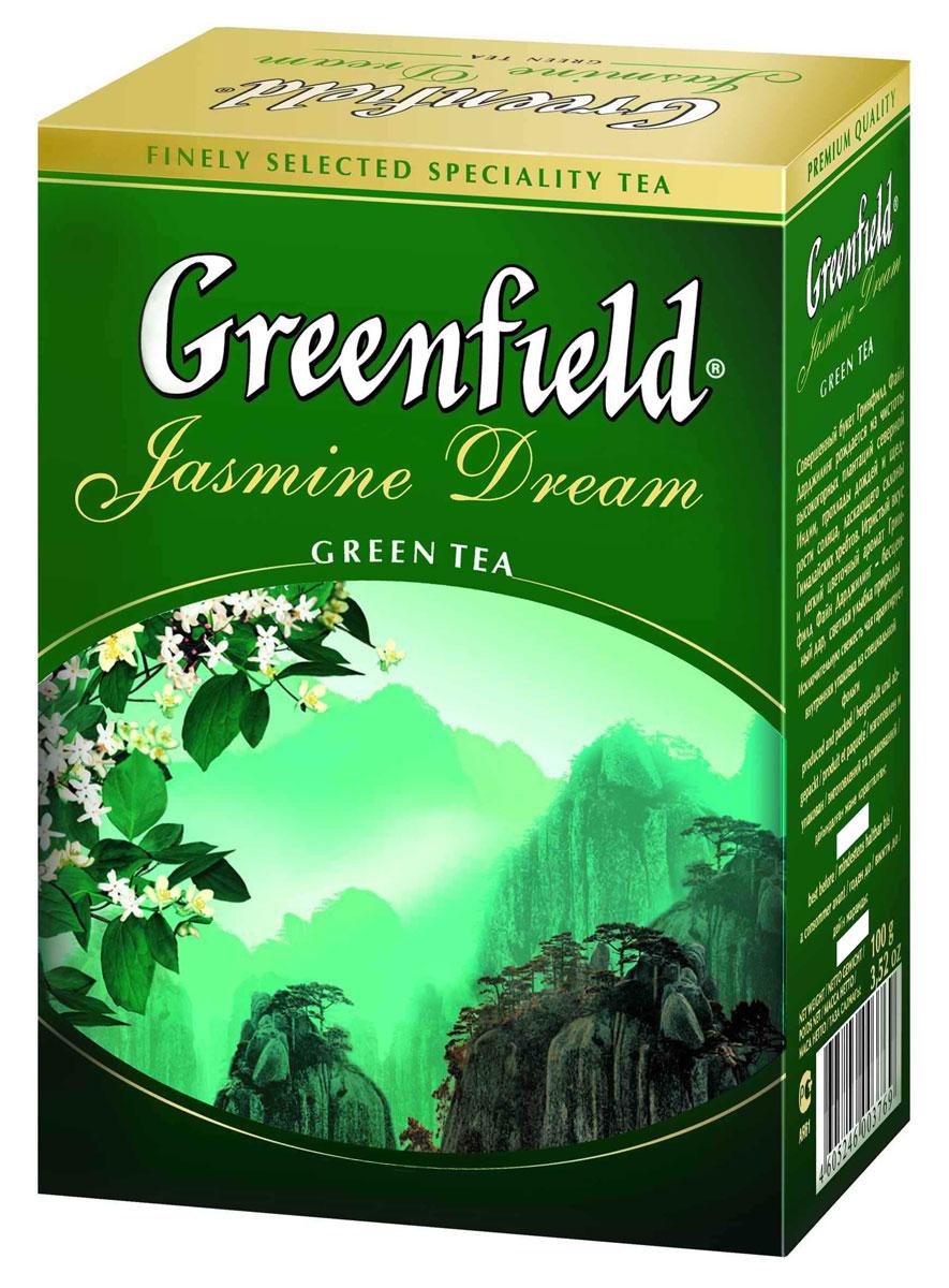Greenfield Jasmine Dream зеленый ароматизированный листовой чай, 100 г0372-16Жасминовый чай ценится за особенный бодрящий эффект. Воздушный аромат жасмина подчеркивает чистый, освежающий вкус благородного зеленого чая из провинции Юньнань.Вместе с Greenfield Jasmine Dream приходит весеннее настроение!