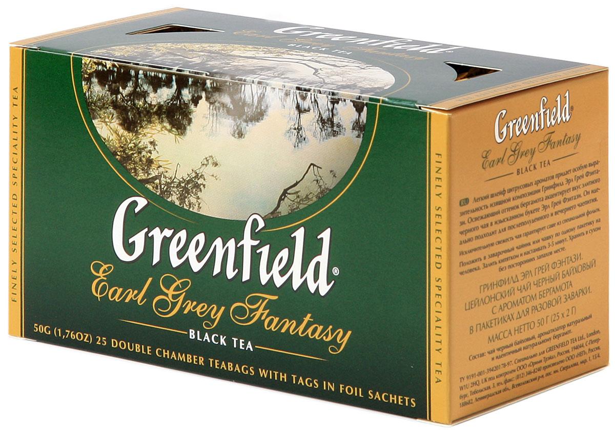 Greenfield Earl Grey Fantasy черный ароматизированный чай в пакетиках, 25 шт0427-15Легкий шлейф цитрусовых ароматов придает особую выразительность изящной композиции Greenfield Earl Grey Fantasy. Освежающий оттенок бергамота акцентирует вкус элитного черного чая в изысканном букете Greenfield Earl Grey Fantasy. Он идеально подходит для послеполуденного и вечернего чаепития.