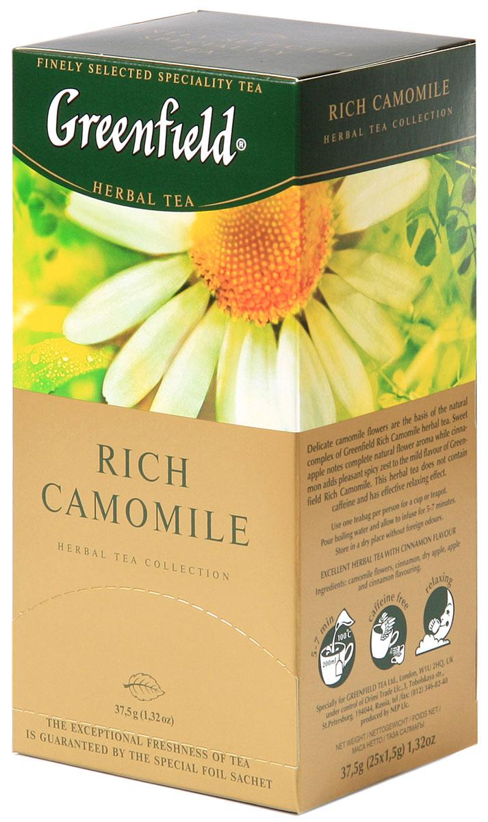 Greenfield Rich Camomile травяной чай в пакетиках, 25 шт0432-10Основу природного комплекса травяного чая Greenfield Rich Camomile составляют нежные цветы ромашки. Сладковатый оттенок сушеных яблок дополняет естественный цветочный вкус, а корица вносит приятную остроту в мягкую гамму Greenfield Rich Camomile . Не содержит кофеина, способствует релаксации.