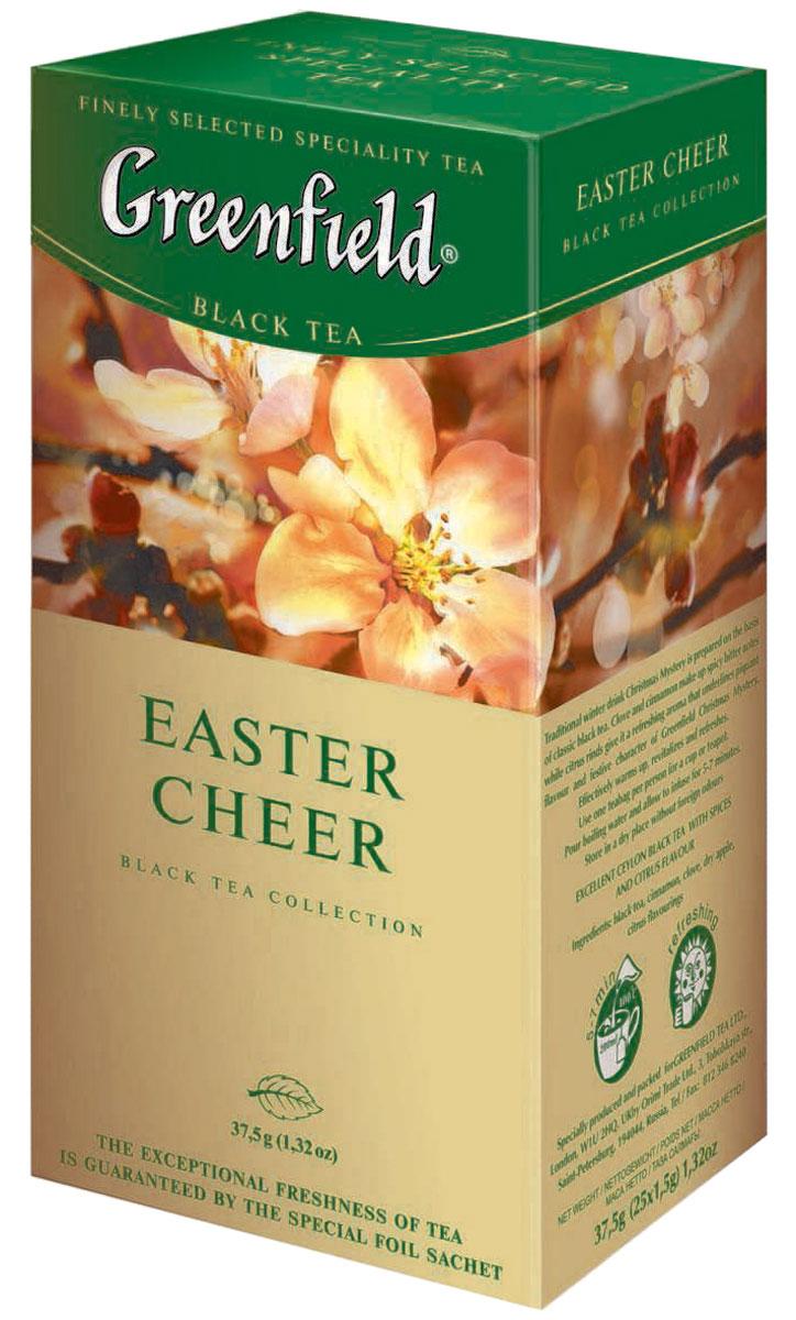 Greenfield Easter Cheer черный чай в пакетиках, 25 шт0526-10Вся природная сила и глубина великолепного черного чая с лучших плантаций Индии воплощается в многогранном букете Greenfield Easter Cheer. Насыщенный, но мягкий вкус играет множеством сложных оттенков, а яркий радостный аромат, усиленный теплой волной ванили и острыми цитрусовыми искорками, напоминает о вечном обновлении ликующей природы. Хорошо тонизирует и освежает.