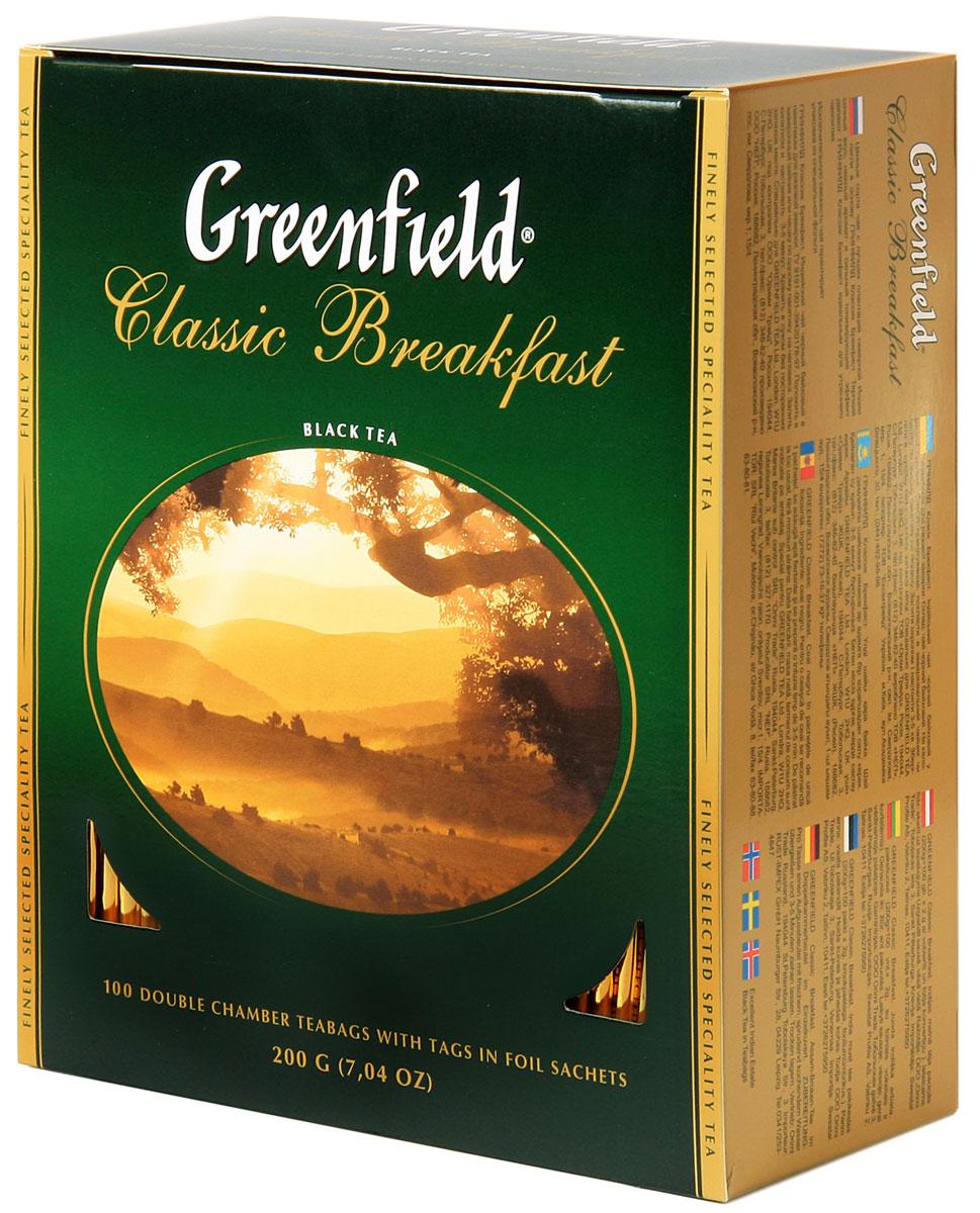 Greenfield Classic Breakfast черный чай в пакетиках, 100 шт0582-09Ценные сорта чая с лучших плантаций северной Индии легли в основу Greenfield Classic Breakfast. Терпкий сочный вкус, нежный аромат и сильный тонизирующий эффект делают Greenfield Classic Breakfast идеальным для утреннего чаепития.