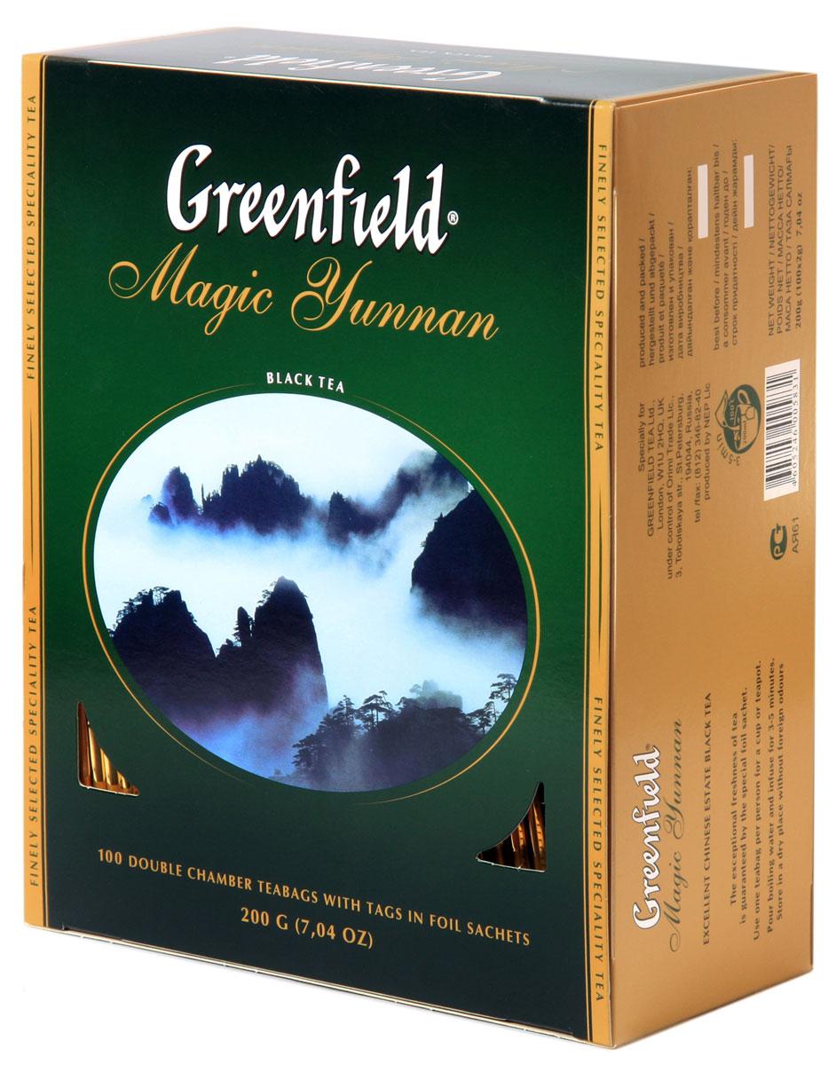 Greenfield Magic Yunnan черный чай в пакетиках, 100 шт0583-09Особенный черный чай Greenfield Magic Yunnan со знаменитой высокогорной китайской плантации поражает неожиданным сочетанием двух изысканных вкусовых нот - дымного аромата и легкого оттенка чернослива. Неповторимый вкус чая Greenfield Magic Yunnan волнует душу и питает воображение.