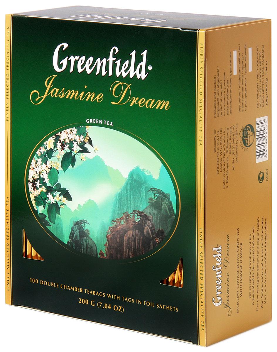 Greenfield Jasmine Dream зеленый ароматизированный чай в пакетиках, 100 шт0586-09Жасминовый чай ценится за особенный бодрящий эффект. Воздушный аромат жасмина подчеркивает чистый, освежающий вкус благородного зеленого чая из провинции Юньнань.Вместе с Greenfield Jasmine Dream приходит весеннее настроение!