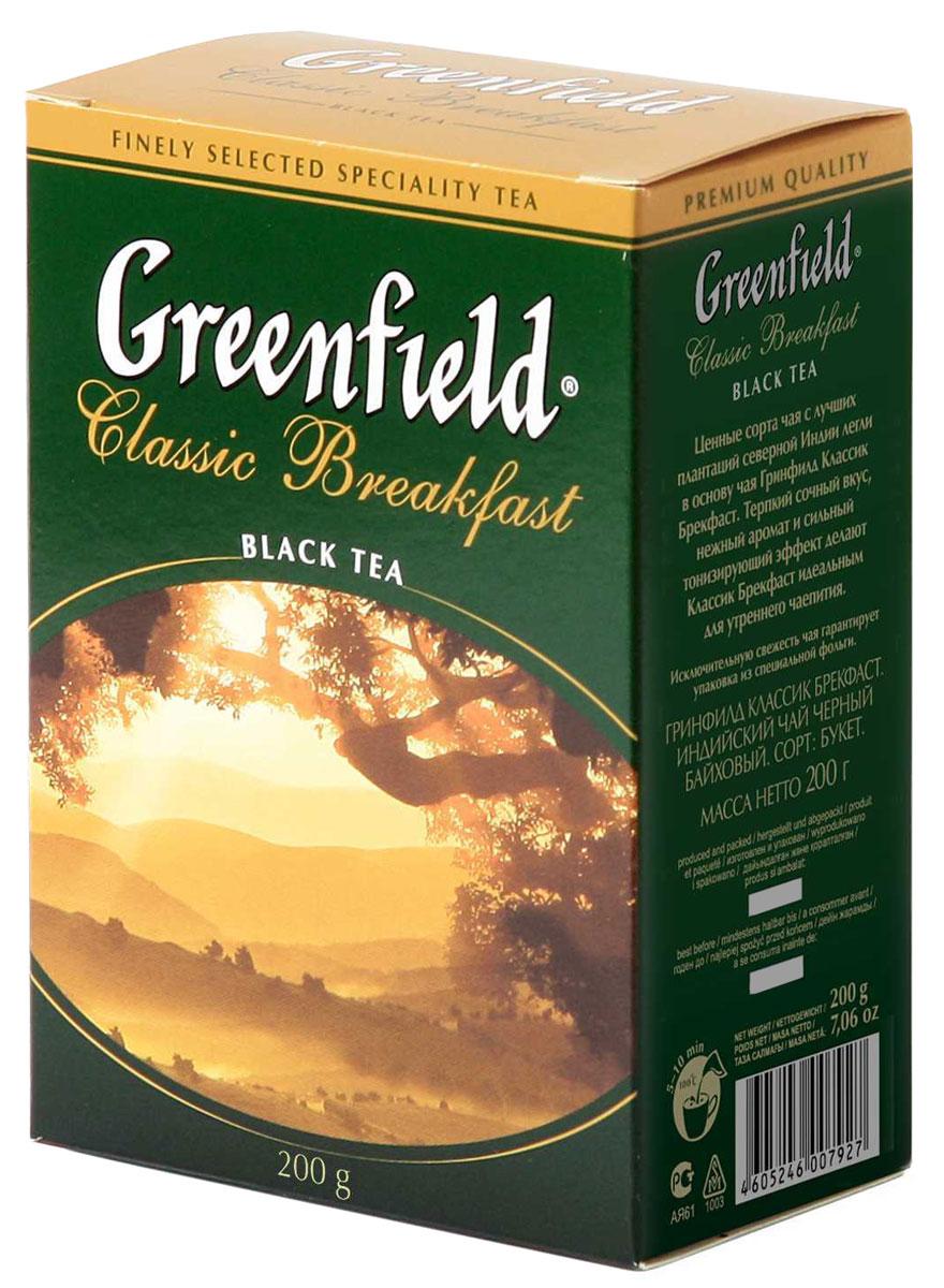 Greenfield Classic Breakfast черный листовой чай, 200 г0792-14Ценные сорта чая с лучших плантаций северной Индии легли в основу Greenfield Classic Breakfast. Терпкий сочный вкус, нежный аромат и сильный тонизирующий эффект делают Greenfield Classic Breakfast идеальным для утреннего чаепития.