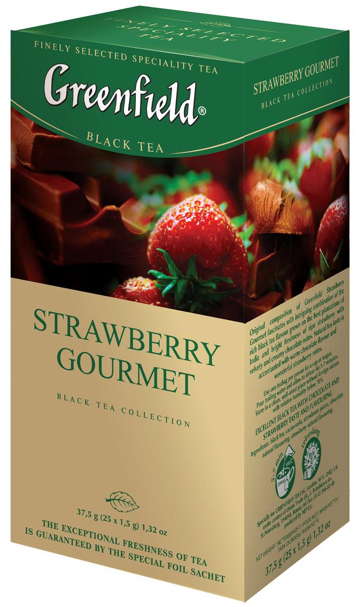 Greenfield Strawberry Gourmet черный чай в пакетиках, 25 шт1025-10Непревзойденная композиция Greenfield Strawberry Gourmet пленяет интригующим сочетанием насыщенного вкуса черного чая, выращенного на лучших плантациях Индии, с яркой свежестью спелой клубники и бархатно-сливочными оттенками шоколада. Природный естественный аромат чая усилен теплой волной шоколада и великолепными клубничными нотами.