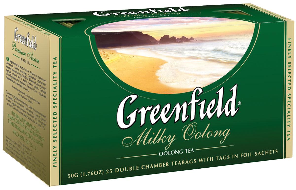 Greenfield Milky Oolong зеленый чай в пакетиках, 25 шт1067-15Наполненный мягкий вкус и долгое сладковатое послевкусие редкого полуферментированного чая Oolong превосходно сочетаются с тонкими молочно-сливочными нотами, которые завершают выразительный букет Greenfield Milky Oolong.