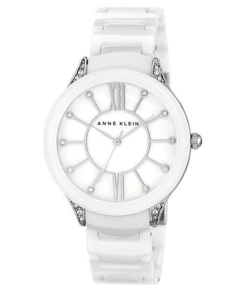 Часы наручные женские Anne Klein 1673WTSV, цвет: белый, стальной1673WTSVКорпус: металл, 42 мм, кристаллы, браслет: керамика, cтекло: минеральное, механизм: кварцевый, водозащита: 2 ATM