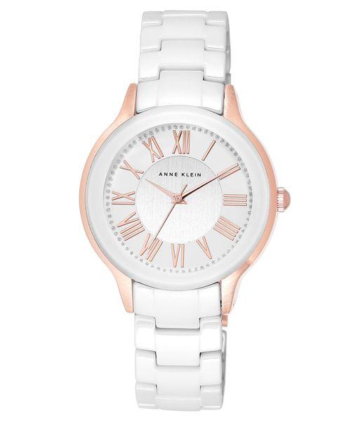 Часы наручные женские Anne Klein 1948WTRG, цвет: белый, золотистый1948WTRGКорпус: металл, PVD покрытие, 36 мм, стекло: минеральное, браслет: керамика, механизм: кварцевый, водозащита: 2 ATM