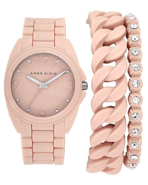 Часы наручные женские Anne Klein 1957BLST, цвет: бежевый1957BLSTКорпус: силикон розовый, 36 мм, стекло: минеральное, браслет и безель: силикон розового цвета, 2 дополнительных браслета, кристаллы Swarovsky, механизм: кварцевый, водозащита:3 АТМ