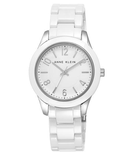 Часы наручные женские Anne Klein 1963WTWT, цвет: белый, стальной1963WTWTКорпус: металл, 35 мм, стекло: минеральное, браслет: керамика, механизм: кварцевый, водозащита: 3 ATM