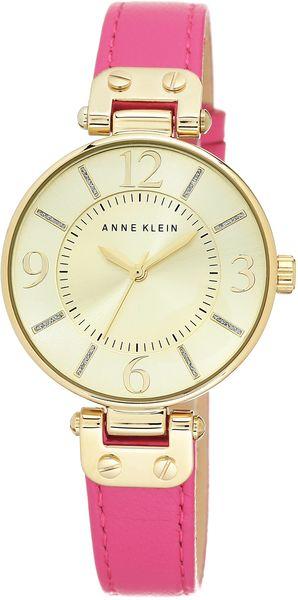 Часы наручные женские Anne Klein 9168CHPK, цвет: розовый, золотой9168CHPKКорпус: металл, PVD покрытие, 34 мм, стекло: минеральное, циферблат перламутровый, браслет: кожаный ремешок, механизм: кварцевый, водозащита: 3 АТМ