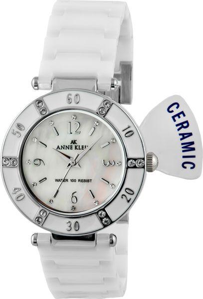 Часы наручные женские Anne Klein 9417WTWT, цвет: белый, стальной9417WTWTКорпус: металл, PVD - покрытие, инкрустирован кристаллами Swarovski, стекло: минеральное, браслет: керамический, механизм: кварцевый, водозащита: 3 ATM