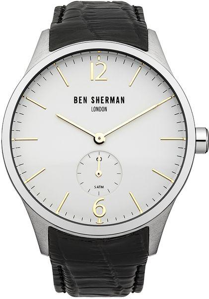 Часы наручные мужские Ben Sherman Spitalfields Professinal, цвет: стальной, черный. WB003CRWB003CRСтильные мужские наручные часы Ben Sherman Spitalfields Professinal со стальным корпусом идеально подойдут для человека, ценящего качественные и практичные вещи. Циферблат изделия оформлен отметками, часовой, минутной стрелками, и дополнен логотипом Ben Sherman. Секундная стрелка вынесена на отдельный циферблат. Часы оснащены кварцевым механизмом VD78 Time Module и устойчивым к царапинам минеральным стеклом. Модель обладает степенью влагозащиты 5 atm. Изделие дополнено ремешком из натуральной кожи c фактурным тиснением, позволяющим максимально комфортно и быстро снимать и одевать часы при помощи пряжки. Часы поставляются на специальной подушечке в стильной коробке с логотипом Ben Sherman. Классический дизайн часов Ben Sherman Spitalfields Professinal придаст вам еще больше уверенности и элегантности.