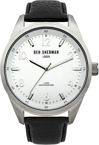 Часы наручные мужские Ben Sherman WB022S, цвет: стальной, черныйWB022SТрехстрелочный механизм 2035 Miyota; Корпус из нержавеющей стали; Размер корпуса o 45mm; Минеральное стекло; Серебристый циферблат; Нет камней; Натуральная кожа черного цвета; Водозащита 5 ATM
