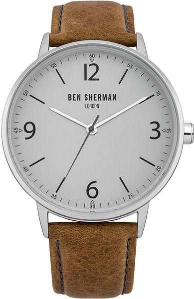 Часы наручные мужские Ben Sherman Portabello Casual, цвет: стальной, коричневый. WB023TWB023TСтильные мужские наручные часы Ben Sherman Portabello Casual со стальным корпусом идеально подойдут для человека, ценящего качественные и практичные вещи. Циферблат изделия оформлен арабскими цифрами, отметками, часовой, минутной и секундной стрелками и дополнен логотипом Ben Sherman. Часы оснащены кварцевым механизмом 2035 Miyota и устойчивым к царапинам минеральным стеклом. Модель обладает степенью влагозащиты 3 atm. Изделие дополнено ремешком из натуральной кожи, позволяющим максимально комфортно и быстро снимать и одевать часы при помощи пряжки. Часы поставляются на специальной подушечке в стильной коробке с логотипом Ben Sherman. Классический дизайн часов Ben Sherman Portabello Casual придаст вам еще больше уверенности и элегантности.
