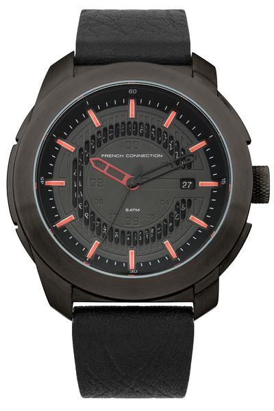 Часы наручные мужские French Connection, цвет: черный, красный. FC1189RBFC1189RBСтильные мужские наручные часы French Connection идеально подойдут для человека, ценящего качественные и практичные вещи. Корпус выполнен из нержавеющей стали с IP покрытием. Циферблат изделия оформлен арабскими цифрами, отметками, часовой, минутной и секундной стрелками, и дополнен логотипом French Connection. Часы оснащены кварцевым механизмом Miyota VD75, устойчивым к царапинам минеральным стеклом и индикатором даты. Модель обладает степенью влагозащиты 5 atm. Изделие дополнено ремешком из натуральной кожи c фактурным тиснением, позволяющим максимально комфортно и быстро снимать и одевать часы при помощи пряжки. Часы поставляются на специальной подушечке в стильной коробке с логотипом French Connection. Брутальные часы преобразят ваши будни и дополнят стильный образ.