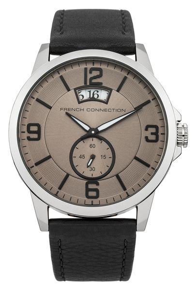 Часы наручные мужские French Connection, цвет: стальной, коричневый, черный. FC1209BFC1209BСтильные мужские часы French Connection, выполнены из нержавеющей стали, натуральной кожи и минерального стекла. Циферблат часов дополнен символикой бренда. Часы оснащены кварцевым механизмом, имеют степень влагозащиты равную 5 atm, а также дополнены устойчивым к царапинам минеральным стеклом и индикатором даты. Стрелки часов дополнены светящимся составом. Ремешок часов оснащен классической пряжкой, которая позволит с легкостью снимать и надевать изделие. Часы поставляются в фирменной упаковке. Часы French Connection подчеркнут отменное чувство стиля своего обладателя.