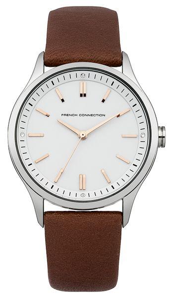 Часы наручные женские French Connection, цвет: стальной, коричневый. FC1245TFC1245TСтильные женские наручные часы French Connection со стальным корпусом идеально подойдут для человека, ценящего качественные и практичные вещи. Циферблат изделия, оформленный отметками, часовой, минутной и секундной стрелками, дополнен логотипом French Connection и украшен чешскими кристаллами. Часы оснащены кварцевым механизмом Miyota 2035 и устойчивым к царапинам минеральным стеклом. Модель обладает степенью влагозащиты 3 atm. Изделие дополнено ремешком из натуральной кожи, позволяющим максимально комфортно и быстро снимать и одевать часы при помощи пряжки. Часы поставляются на специальной подушечке в стильной коробке с логотипом French Connection. Надежный аксессуар с классическим дизайном станет великолепным компаньоном стильной леди.