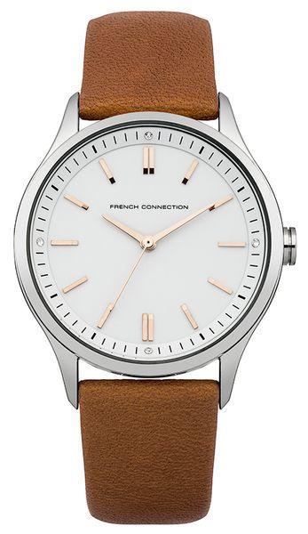 Часы женские наручные French Connection Mollard, цвет: стальной, коричневый. FC1245CFC1245CСтильные женские часы French Connection Mollard выполнены из нержавеющей стали и натуральной кожи. Циферблат изделия оформлен чешскими кристаллами и изображением наименования бренда. Корпус изделия изготовлен из нержавеющей стали и имеет степень влагозащиты равную 3 atm. Часы оснащены механизмом c тремя стрелками, ремешком из натуральной кожи с практичной пряжкой, которая позволит моментально снимать и одевать часы без лишних усилий. Часы French Connection Mollard подчеркнут изящество женской руки и отменное чувство стиля их обладательницы.