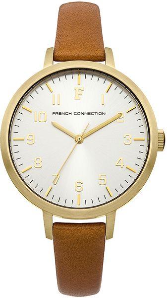 Часы наручные женские French Connection, цвет: золотой, коричневый. FC1248TFC1248TСтильные женские наручные часы French Connection идеально подойдут для человека, ценящего качественные и практичные вещи. Корпус выполнен из нержавеющей стали с IP покрытием золотистого цвета. Циферблат изделия оформлен арабскими цифрами, отметками, часовой, минутной и секундной стрелками, и дополнен логотипом French Connection. Часы оснащены кварцевым механизмом Miyota PC21 и устойчивым к царапинам минеральным стеклом. Модель обладает степенью влагозащиты 3 atm. Изделие дополнено ремешком из натуральной кожи, позволяющим максимально комфортно и быстро снимать и одевать часы при помощи пряжки. Часы поставляются на специальной подушечке в стильной коробке с логотипом French Connection. Элегантные женские часы French Connection благодаря нейтральному цветовому оформлению подойдут как к повседневной одежде, так и к деловому костюму.