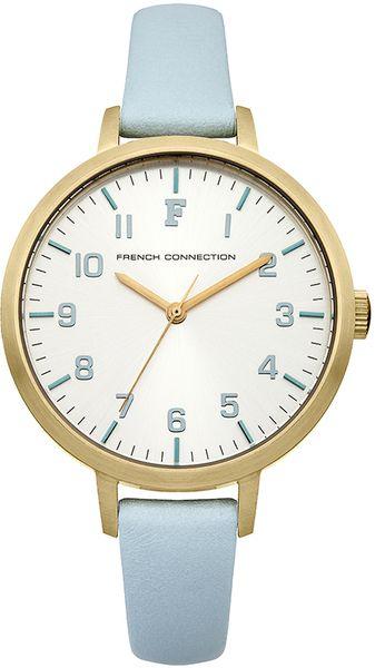 Часы наручные женские French Connection, цвет: золотой, голубой. FC1248MFC1248MСтильные женские наручные часы French Connection идеально подойдут для человека, ценящего качественные и практичные вещи. Корпус выполнен из нержавеющей стали с IP покрытием золотистого цвета. Циферблат изделия оформлен арабскими цифрами, отметками, часовой, минутной, секундной стрелками и дополнен логотипом French Connection. Часы оснащены кварцевым механизмом Miyota PC21 и устойчивым к царапинам минеральным стеклом. Модель обладает степенью влагозащиты 5 atm. Изделие дополнено ремешком из натуральной кожи, позволяющим максимально комфортно и быстро снимать и одевать часы при помощи пряжки. Часы поставляются на специальной подушечке в стильной коробке с логотипом French Connection. Элегантные женские часы French Connection благодаря цветовому оформлению подойдут как к повседневной одежде, так и к деловому костюму.