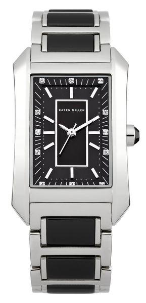 Часы наручные женские Karen Millen, цвет: стальной, черный. KM119BM