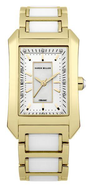 Часы наручные женские Karen Millen, цвет: золотистый, белый. KM119GM