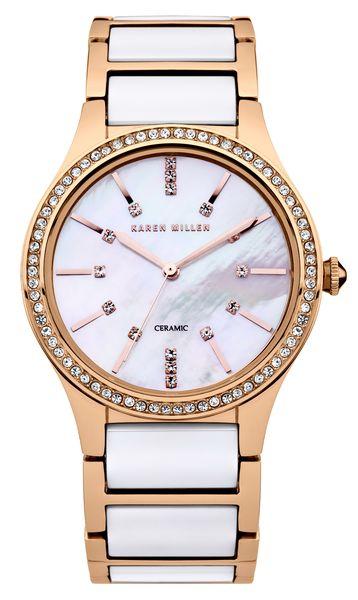 Часы наручные женские Karen Millen, цвет: золотистый, белый. KM122RGMKM122RGMВеликолепные женские наручные часы Karen Millen выполнены из нержавеющей стали c PVD покрытием. Корпус и циферблат украшены кристаллами Swarovski. Циферблат изделия оформлен отметками, часовой, минутной и секундной стрелками. Также циферблат дополнен логотипом Karen Millen. Часы оснащены кварцевым механизмом Miyota 2036, устойчивым к царапинам минеральным стеклом. Модель обладает степенью влагозащиты 5 atm. Изделие дополнено стальным браслетом с керамическими вставками, который застегивается на складной замок. Часы поставляются на специальной подушечке в стильной коробке с логотипом Karen Millen. Эффектное сочетание стали и керамики добавят шика в ваш повседневный наряд.