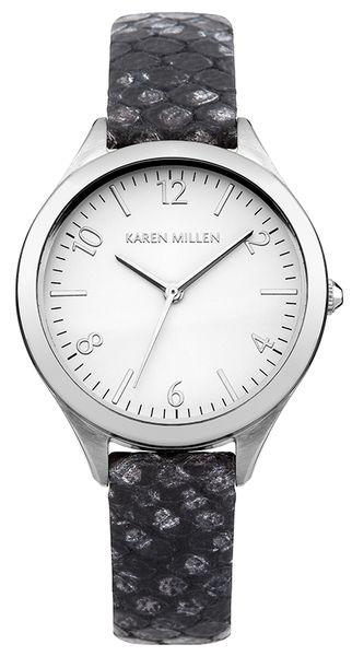 Часы наручные женские Karen Millen, цвет: стальной, серый. KM150BKM150BЭлегантные женские часы Karen Millen выполнены из нержавеющей стали, натуральной кожи с тиснением под рептилию и минерального стекла. Циферблат часов дополнен символикой бренда. Корпус часов оснащен кварцевым механизмом, имеет степень влагозащиты равную 5 atm, а также дополнен устойчивым к царапинам минеральным стеклом. Ремешок часов оснащен классической пряжкой, которая позволит с легкостью снимать и надевать изделие. Часы поставляются в фирменной упаковке. Часы Karen Millen подчеркнут изящность женской руки и отменное чувство стиля у их обладательницы.