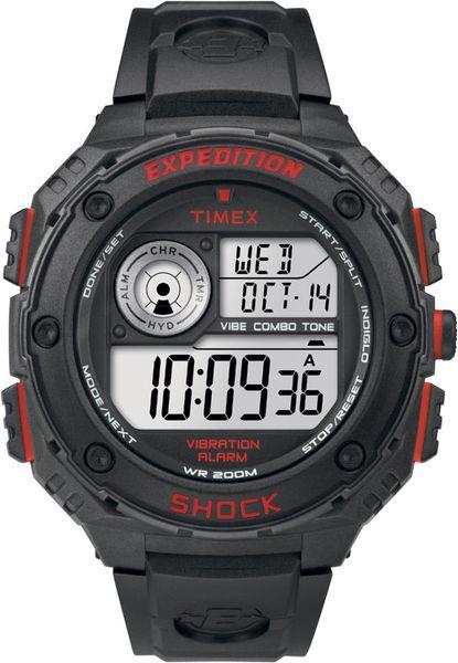 Часы наручные мужские Timex T49980, цвет: черный, красныйT49980Мехнизм кварцевый, корпус: пластик, 50 мм, стекло минеральное, ремешок: силикон, доп. функции: подсветка INDIGLO, будильник,100 часовой хронограф, дата, водозащита: 20 АТМ