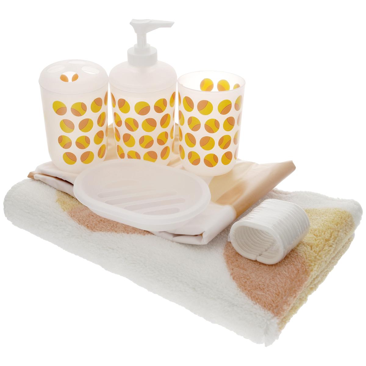 Набор для ванной House & Holder, цвет: белый, оранжевый, 6 предметовSWYS044Набор для ванной комнаты House & Holder состоит из держателя для зубных щеток, стакана для пасты, дозатора для жидкого мыла, мыльницы, коврика и шторы для ванной с 12 кольцами. Держатель, стакан и дозатор изготовлены из пластика и декорированы ярким принтом. Пластиковая мыльница оснащена отверстиями для стекания воды. Коврик изготовлен из мягкого плотного ворса, который не даст замерзнуть ногам. Основание коврика предотвращает скольжение его по полу. Шторка выполнена из водоотталкивающего полимерного материала. Кольца для шторки изготовлены из пластика. Набор House & Holder станет отличным подарком на праздник. Диаметр стакана (по верхнему краю): 7 см. Высота стакана: 9,7 см. Диаметр держателя для зубных щеток (по верхнему краю): 7 см. Высота держателя для зубных щеток: 11 см. Размер дозатора: 7 см х 7 см х 16 см. Размер мыльницы: 13,2 см х 9 см х 2,5 см. Размер шторы: 180 см х 180 см. Размер коврика:...