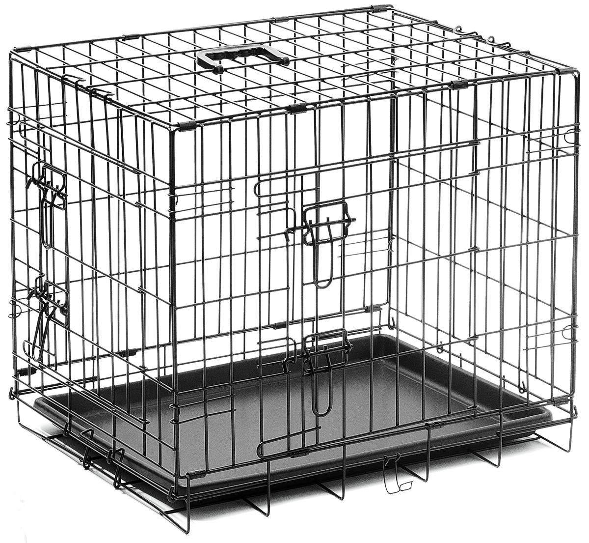 Клетка для собак V.I.Pet, с поддоном, двухдверная, 60 см х 45 см х 50 см06002Металлическая клетка для собак V.I.Pet отлично подойдет для перевозки вашего питомца в машине, а также для удобного размещения дома или на выставке. Клетка оборудована пластиковым поддоном и прорезиненными ножками, предотвращающими скольжение клетки по полу и защищающими пол от царапин. Изделие имеет две дверцы - одну спереди и одну сбоку. Фиксируются дверцы при помощи надежных замков. Клетка легко и просто собирается без инструментов. Для удобства переноски изделие оснащено удобной пластиковой ручкой.