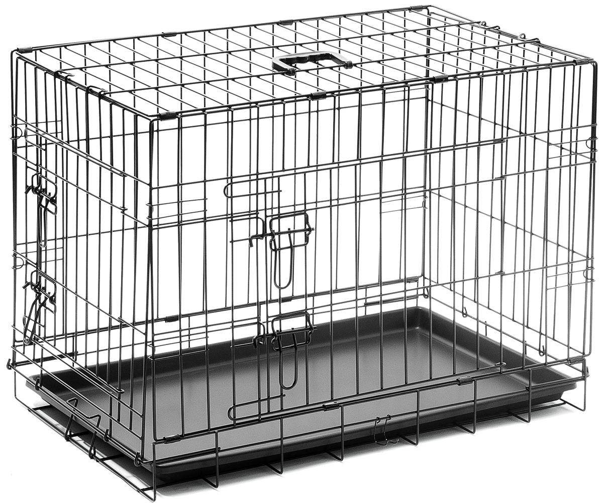 Клетка для собак V.I.Pet, с поддоном, двухдверная, 75 см х 48 см х 53 см06003Металлическая клетка для собак V.I.Pet отлично подойдет для перевозки вашего питомца в машине, а также для удобного размещения дома или на выставке. Клетка оборудована пластиковым поддоном и прорезиненными ножками, предотвращающими скольжение клетки по полу и защищающими пол от царапин. Изделие имеет две дверцы - одну спереди и одну сбоку. Фиксируются дверцы при помощи надежных замков. Клетка легко и просто собирается без инструментов. Для удобства переноски изделие оснащено удобной пластиковой ручкой.