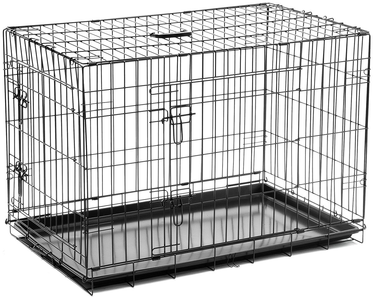 Клетка для собак V.I.Pet, с поддоном, двухдверная, 90 см х 58 см х 65 см06004Металлическая клетка для собак V.I.Pet отлично подойдет для перевозки вашего питомца в машине, а также для удобного размещения дома или на выставке. Клетка оборудована пластиковым поддоном и прорезиненными ножками, предотвращающими скольжение клетки по полу и защищающими пол от царапин. Изделие имеет две дверцы - одну спереди и одну сбоку. Фиксируются дверцы при помощи надежных замков. Клетка легко и просто собирается без инструментов. Для удобства переноски изделие оснащено удобной пластиковой ручкой.