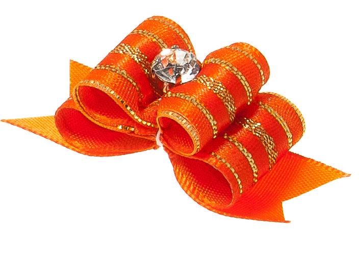 Бантик объемный V.I.Pet Ностальжи, тройной, цвет: оранжевый, 4,5 см х 1,5 см, 2 шт18304Объемный бантик V.I.Pet Ностальжи - это красивое и стильное украшение для собак мелких пород и других животных. Выполнен из тканей различных структур, плотности и фактуры и латексной резинки.