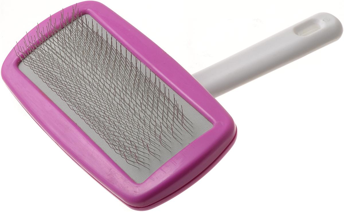Пуходерка V.I.Pet с поворотной ручкой, большая, цвет: розовыйIC-5009Пуходерка V.I.Pet поможет вам удалить старую шерсть из шерсти и подшерстка и вашего домашнего любимца. Пуходерка выполнена из стали и пластика. Во время расчесывания стимулирует волосяные луковицы, придает шерсти здоровый вид. Для удобства использования пуходерка снабжена удобной поворотной ручкой.