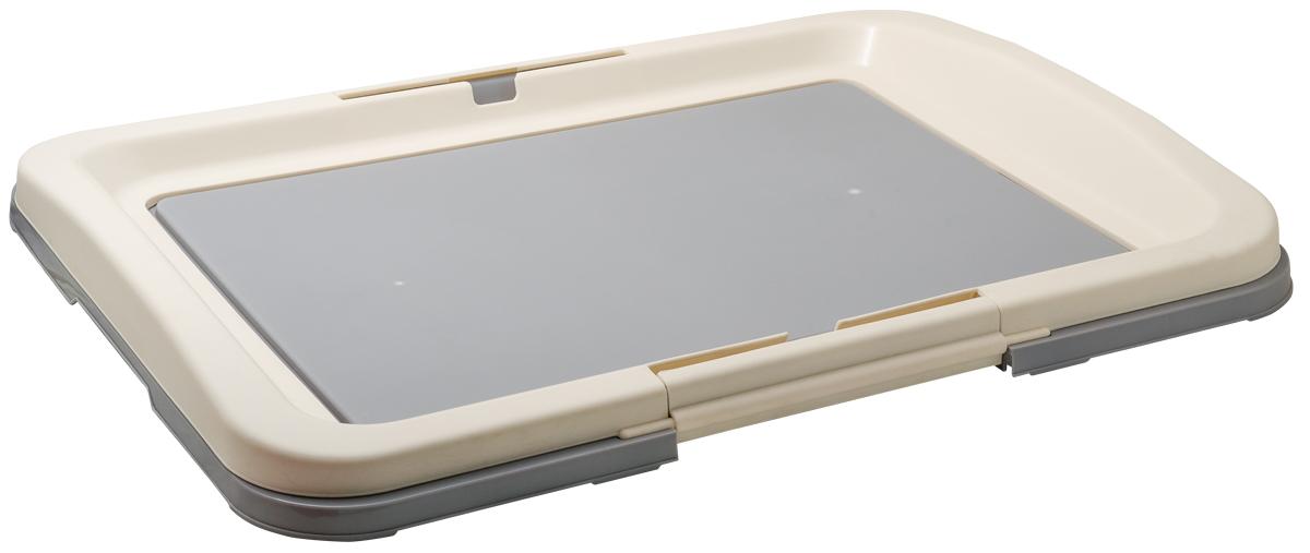 Туалет для собак V.I.Pet Японский стиль, цвет: серый, молочный, 63 см х 48 см х 6 смP103-04Туалет для собак V.I.Pet Японский стиль, изготовленный из нетоксичного пластика, предназначен для собак и щенков. Гигиеническая пеленка помещается под решетку, которая удерживается боковыми фиксаторами. Туалет легко моется водой. Уважаемые клиенты! Рекомендуется использовать с пеленкой V.I.Pet 40 см х 60 см. Гигиеническая пеленка в комплект не входит.