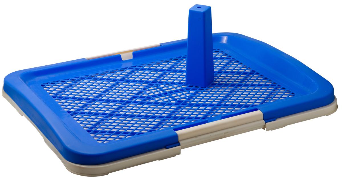 Туалет для собак V.I.Pet Японский стиль, со столбиком, цвет: синий, молочный, 63 см х 48 см х 6 смP160-05Туалет для собак V.I.Pet Японский стиль, изготовленный из нетоксичного пластика, предназначен для собак и щенков. Съёмный столбик легко крепится на решетку и позволяет применять туалет независимо от пола собаки. Гигиеническая пелёнка помещается под решетку, которая удерживается боковыми фиксаторами. Туалет легко моется водой.